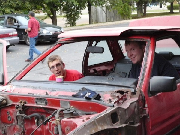 Adam And James ripping apart the car